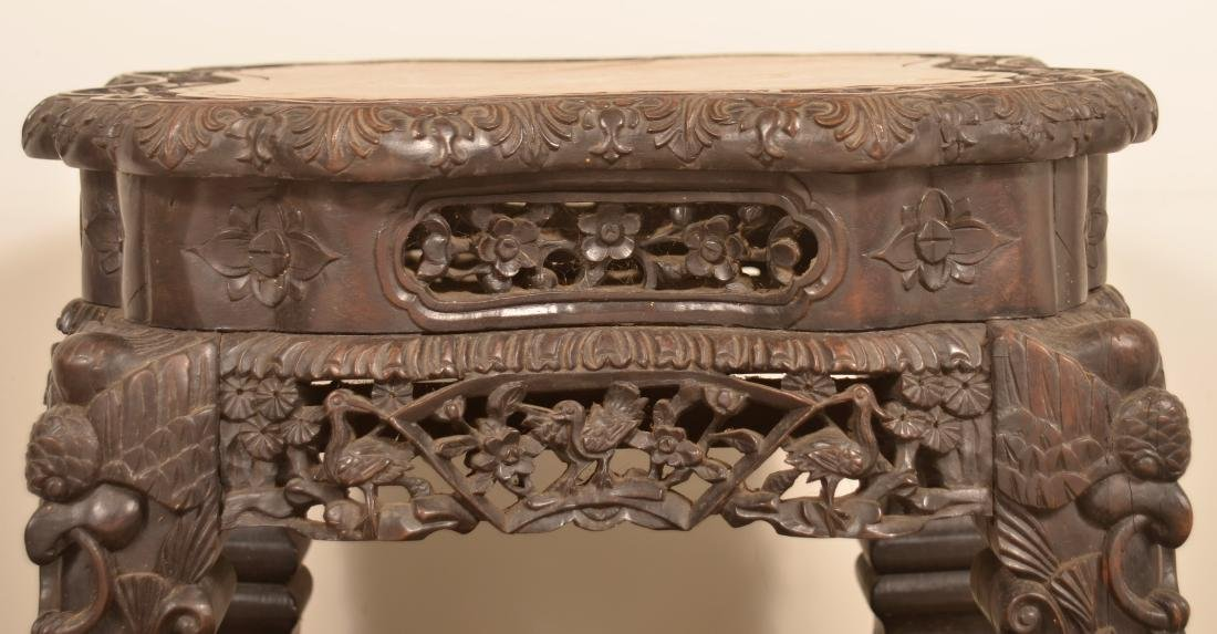 Chinese Carved Rosewood Marble Top Stand. - 4