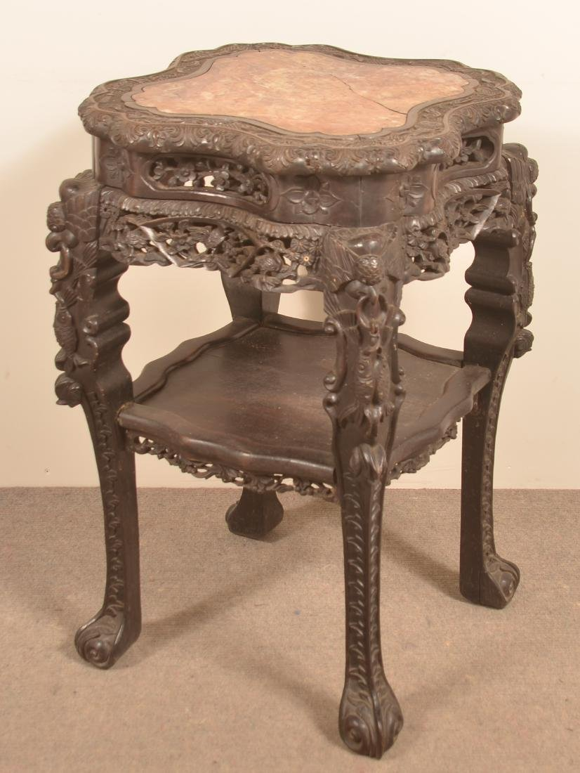 Chinese Carved Rosewood Marble Top Stand. - 5