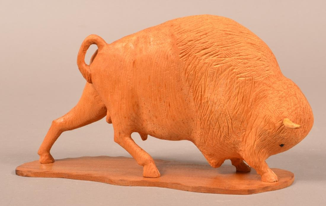 Frank Updegrove Wood Carving of a Buffalo.