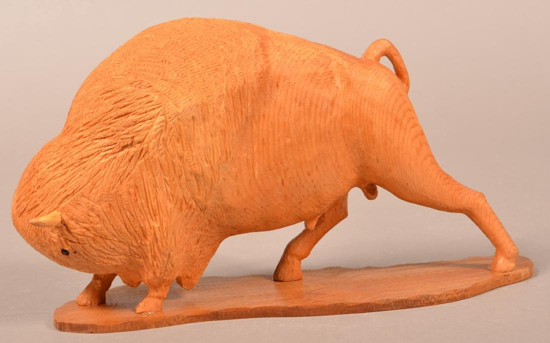Frank Updegrove Wood Carving of a Buffalo. - 2