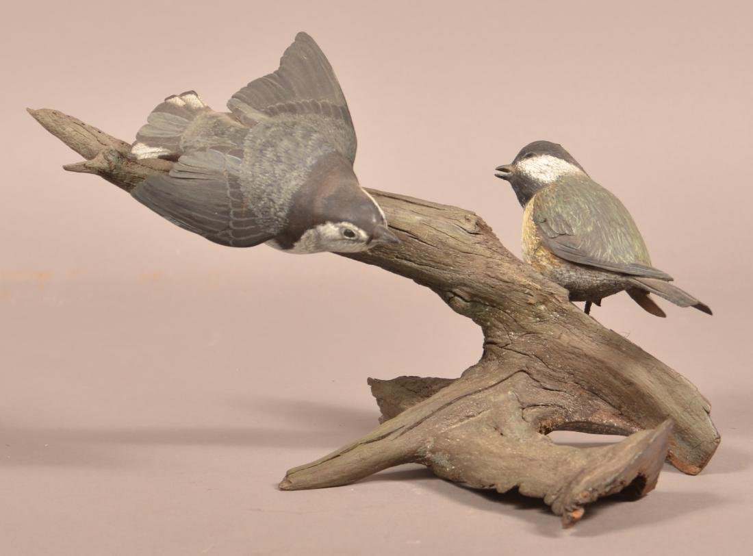 Randy Rowe Wood Carving of Two Songbirds.