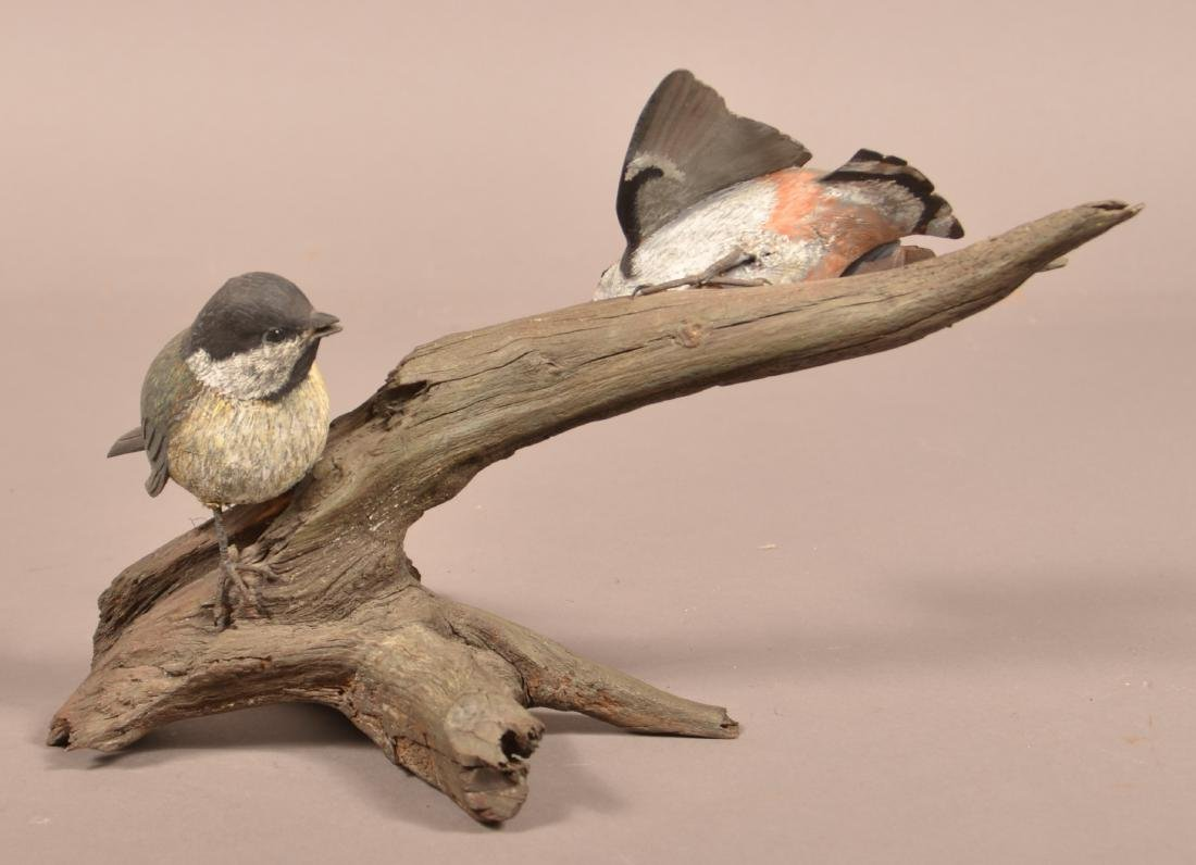 Randy Rowe Wood Carving of Two Songbirds. - 4