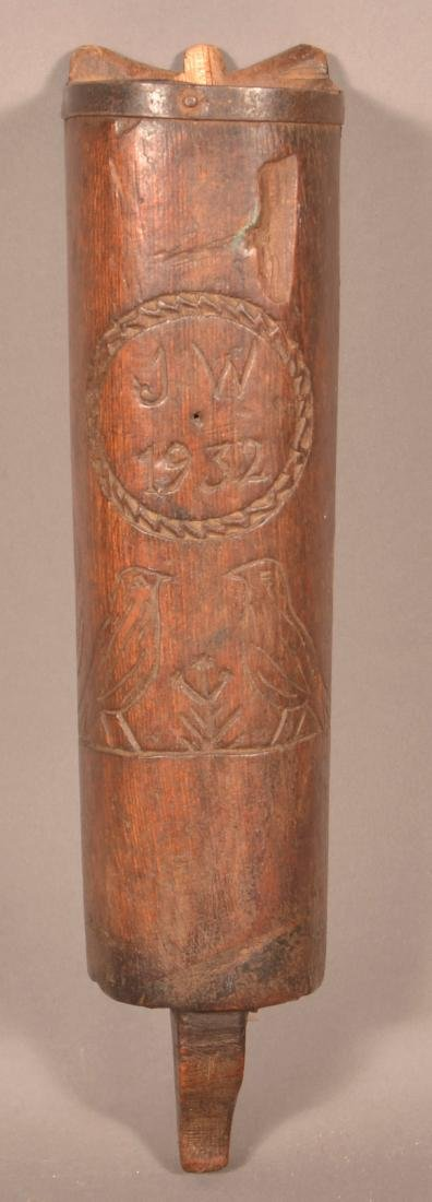 Wood Wall Pocket Incised Carved Decoration.