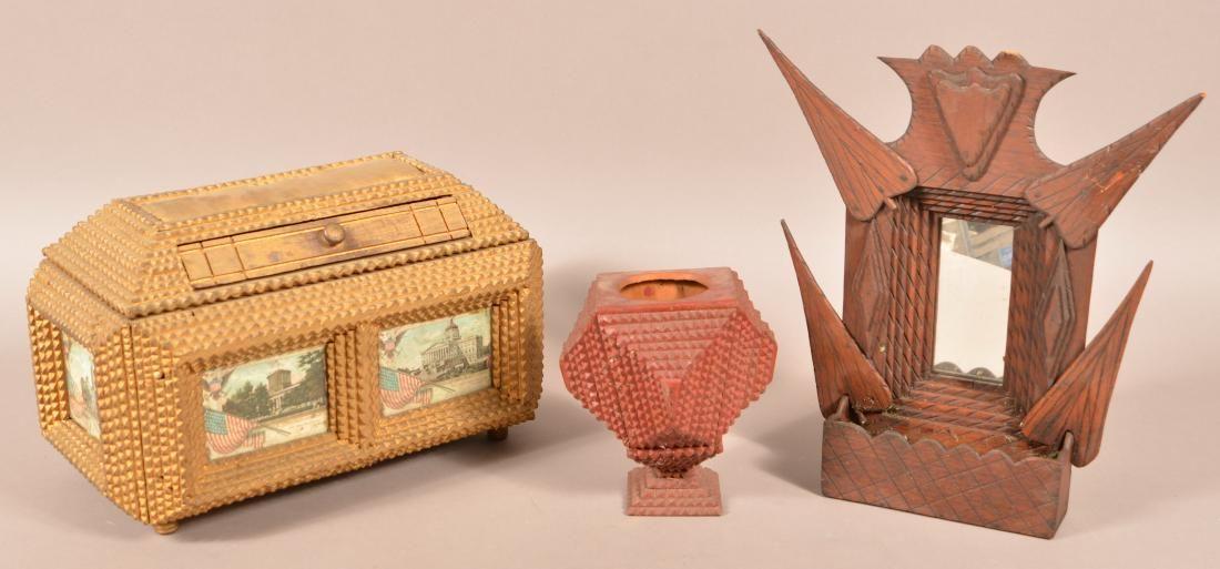 Three Pieces of Antique Tramp Art.