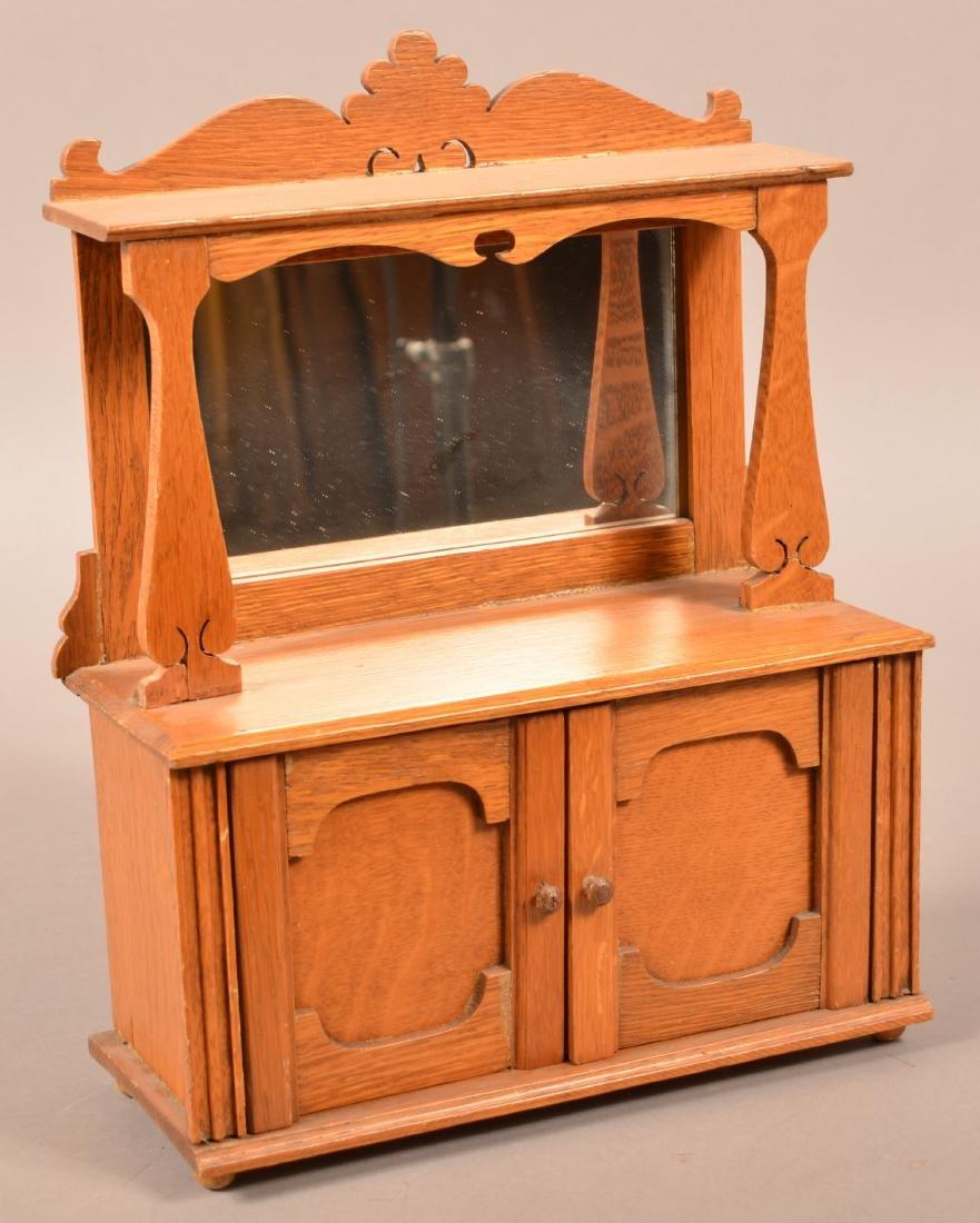 Miniature Oak Mirror-back Sideboard.