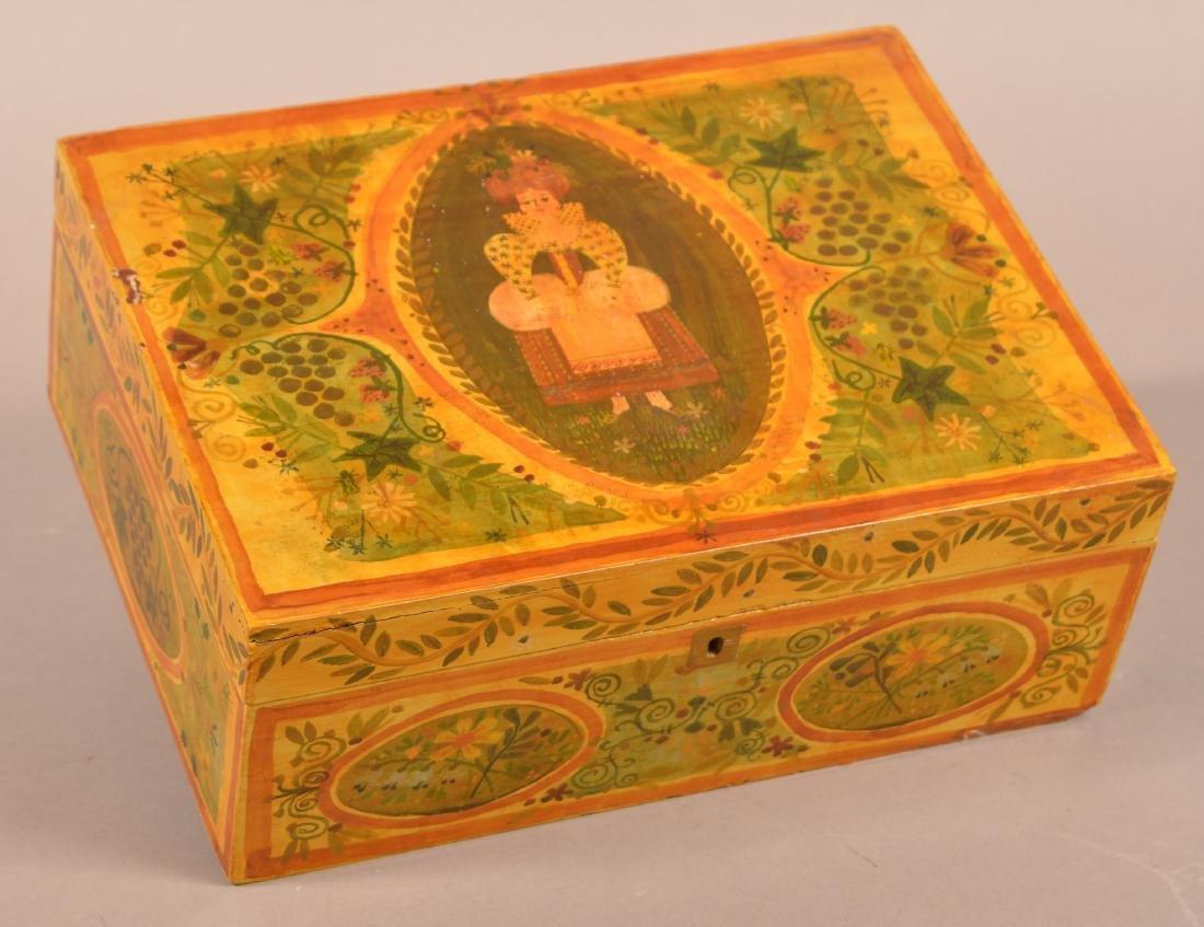 Vintage Paint Decorated Brides Box.