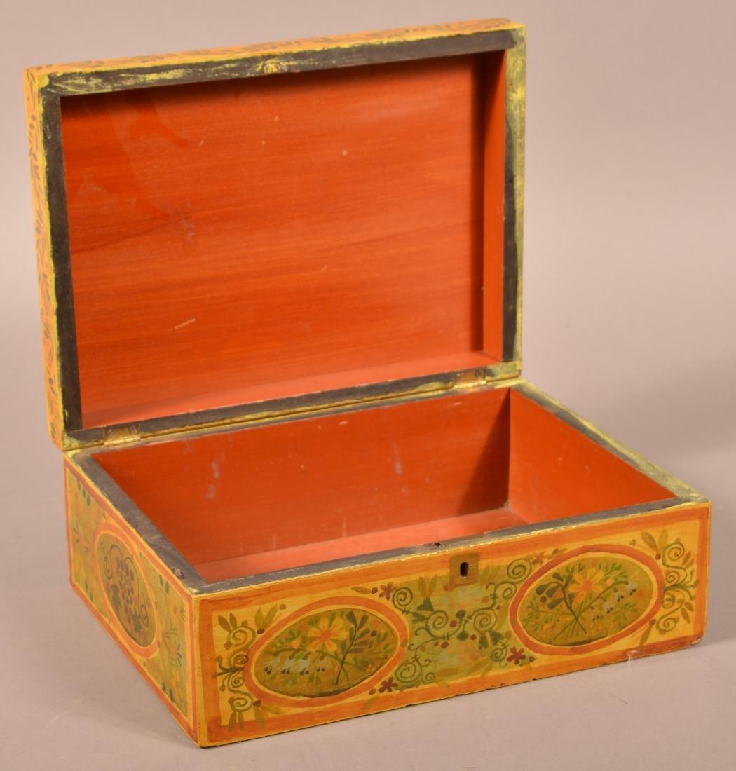 Vintage Paint Decorated Brides Box. - 2