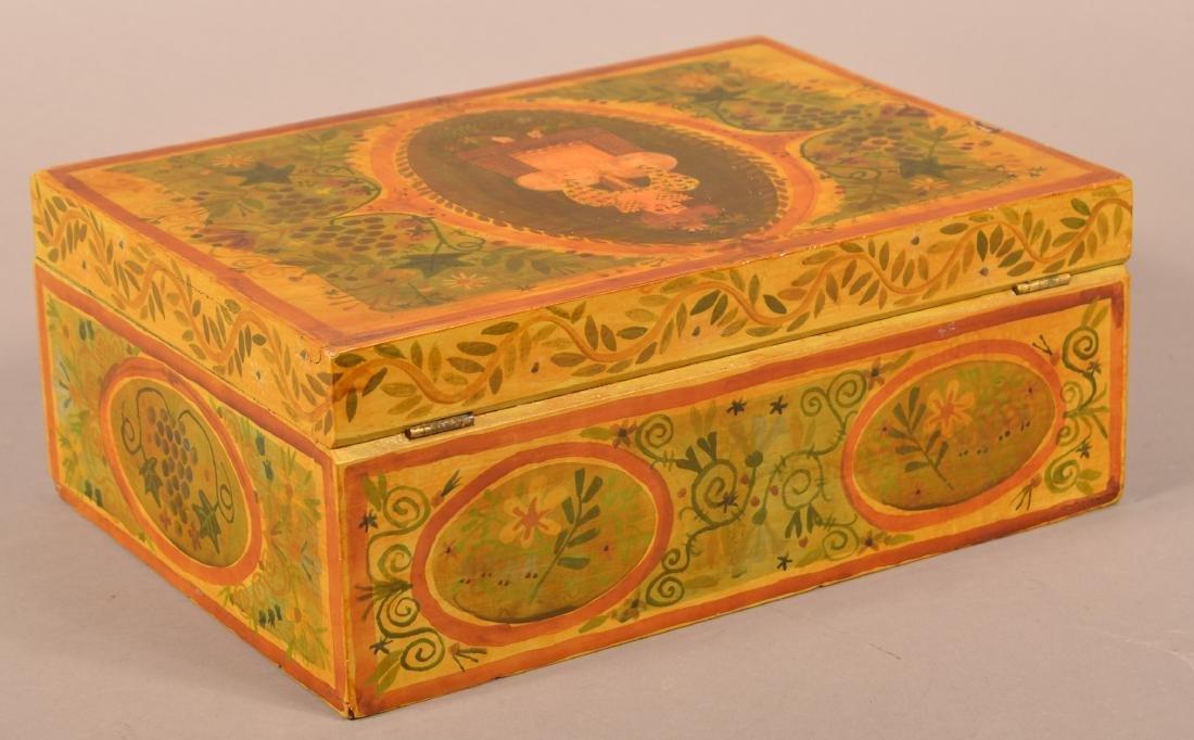 Vintage Paint Decorated Brides Box. - 3