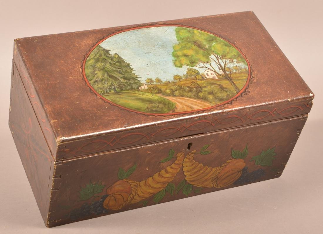 Mahogany Paint Decorated Document Box.