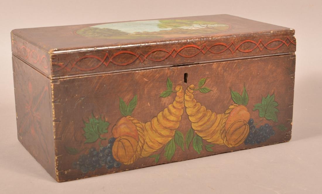 Mahogany Paint Decorated Document Box. - 2
