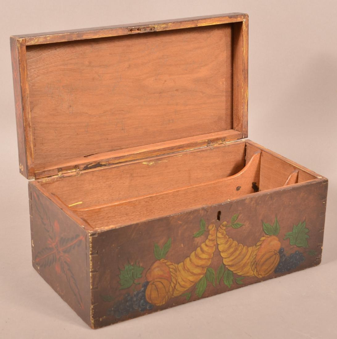 Mahogany Paint Decorated Document Box. - 3