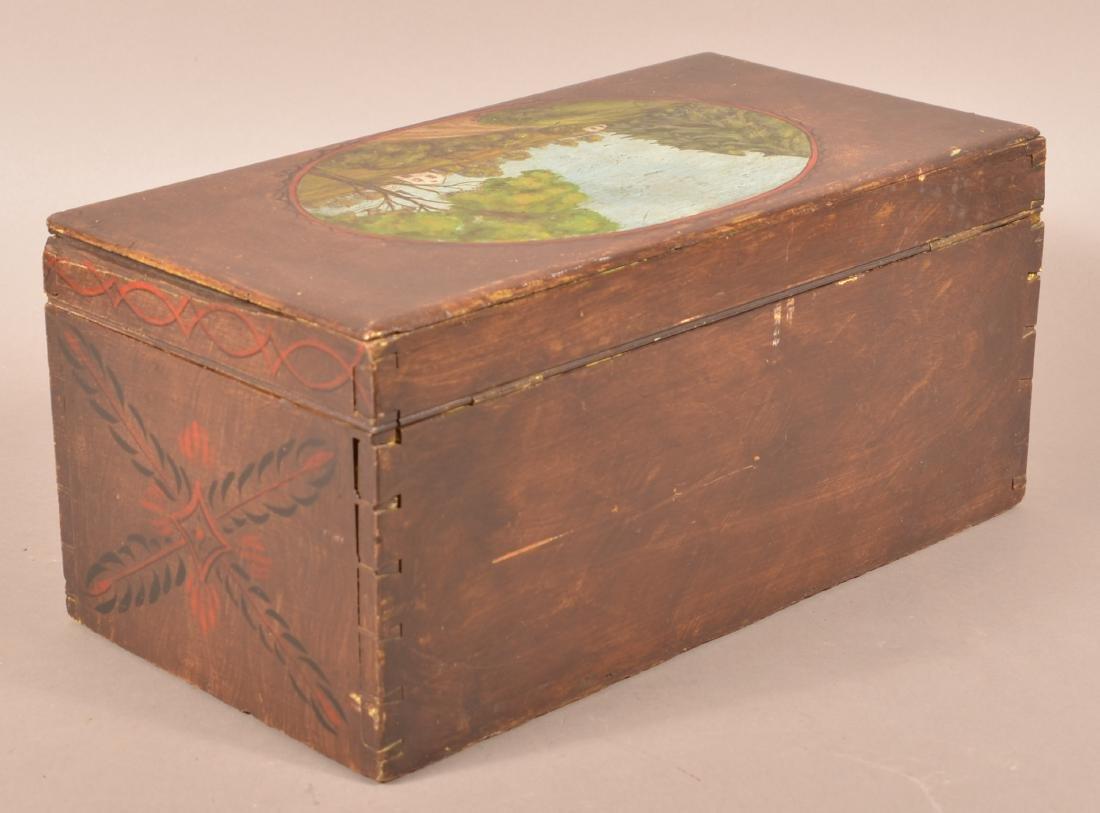 Mahogany Paint Decorated Document Box. - 5