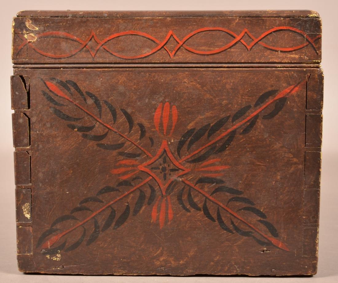Mahogany Paint Decorated Document Box. - 6