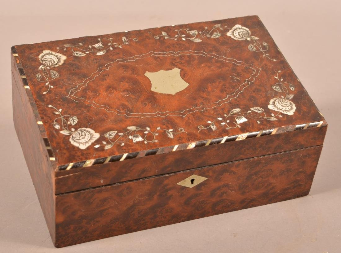 Early 19th Century Burlwood Sewing Box.