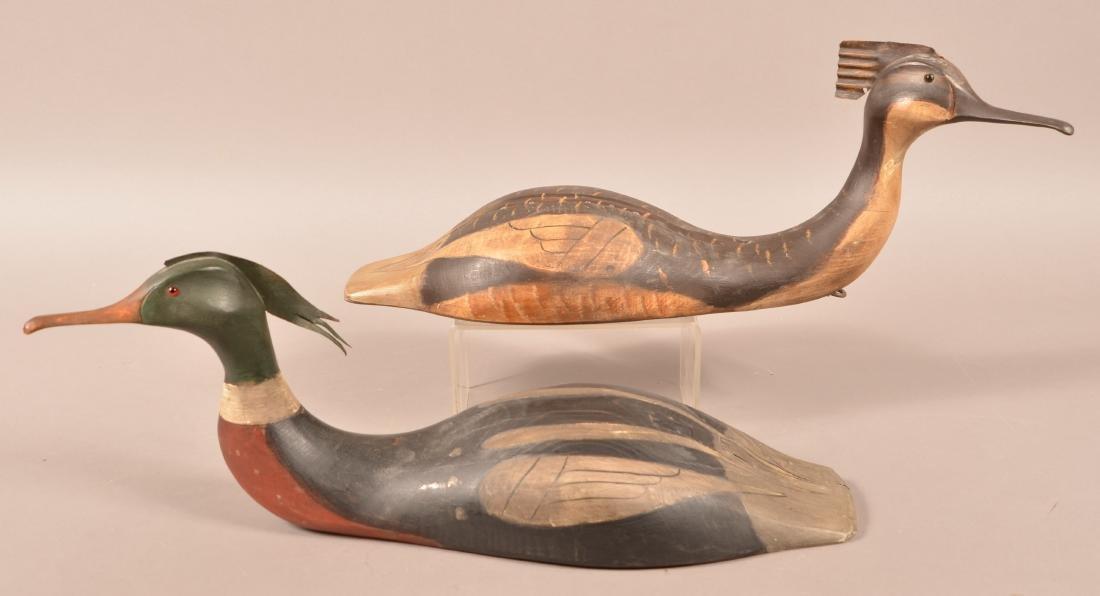 Pair of Carved Merganser Duck Decoys.