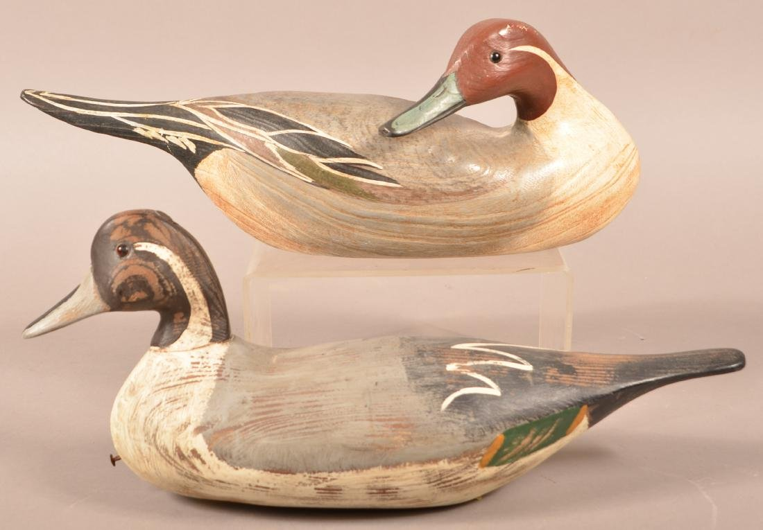 Two Carved Pintail Drake Duck Decoys.