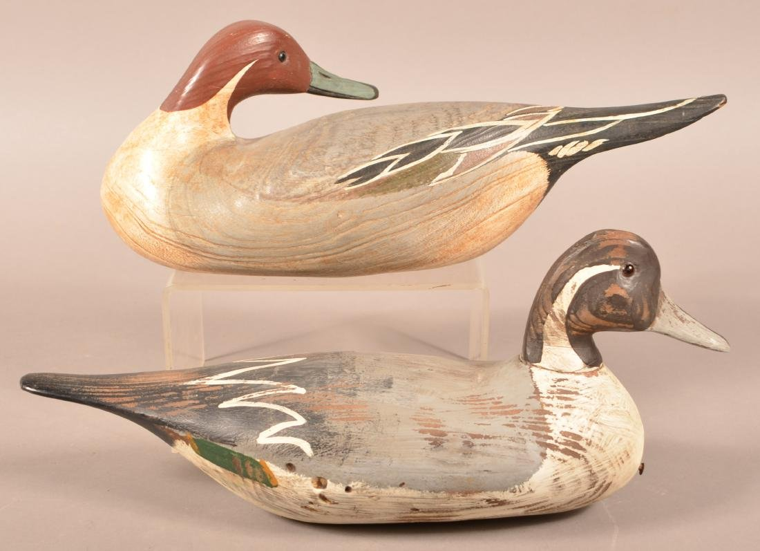 Two Carved Pintail Drake Duck Decoys. - 2