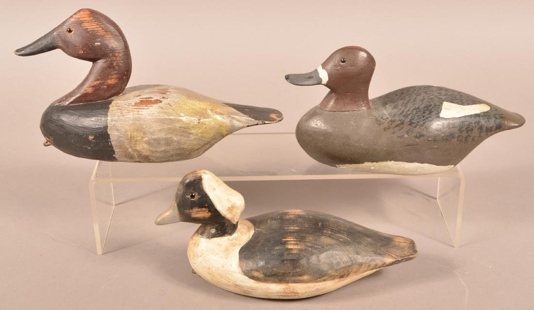 Three Unsigned Carved Duck Decoys