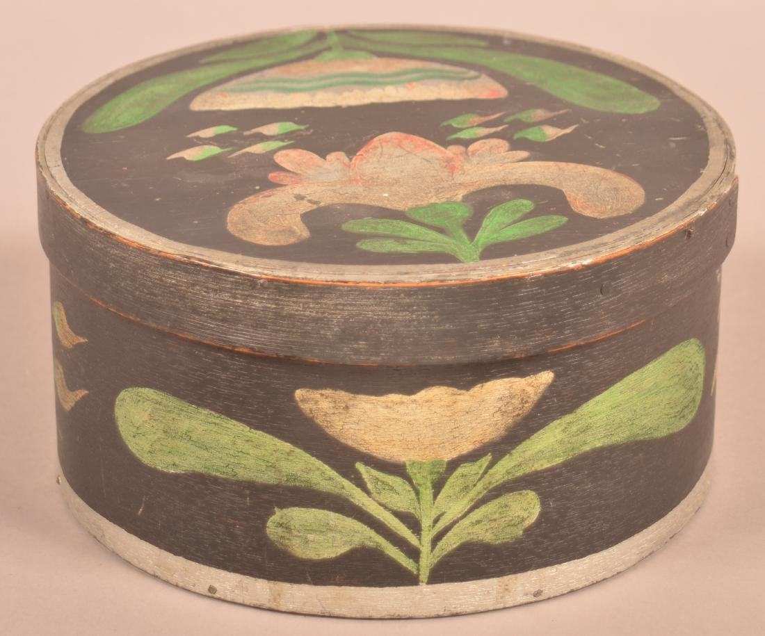 Polychrome Decorated Round Bentwood Box.