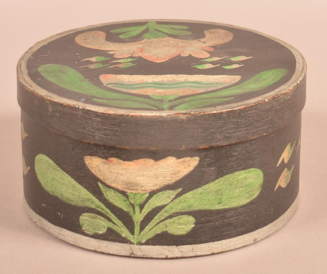 Polychrome Decorated Round Bentwood Box. - 3
