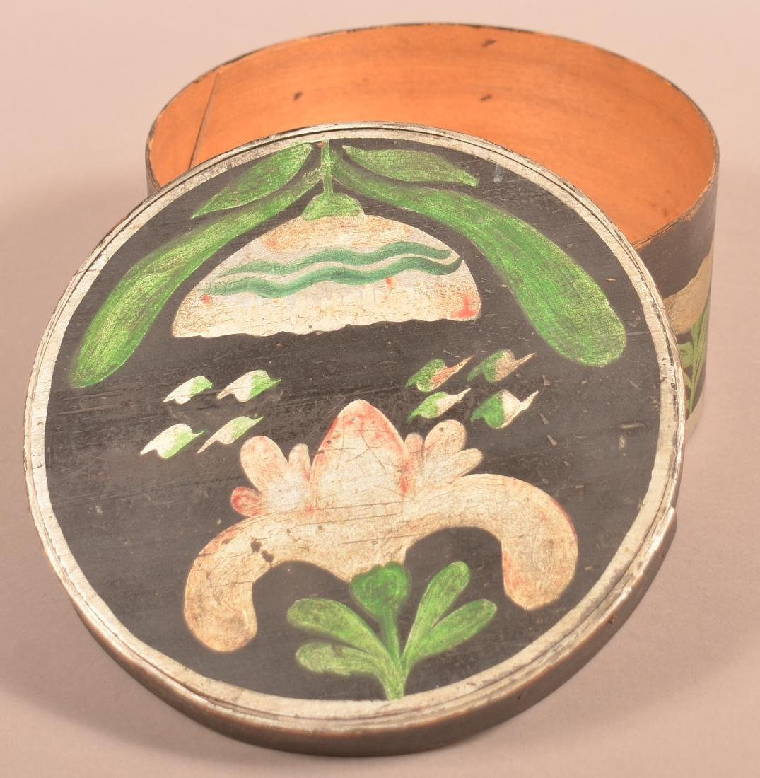 Polychrome Decorated Round Bentwood Box. - 4
