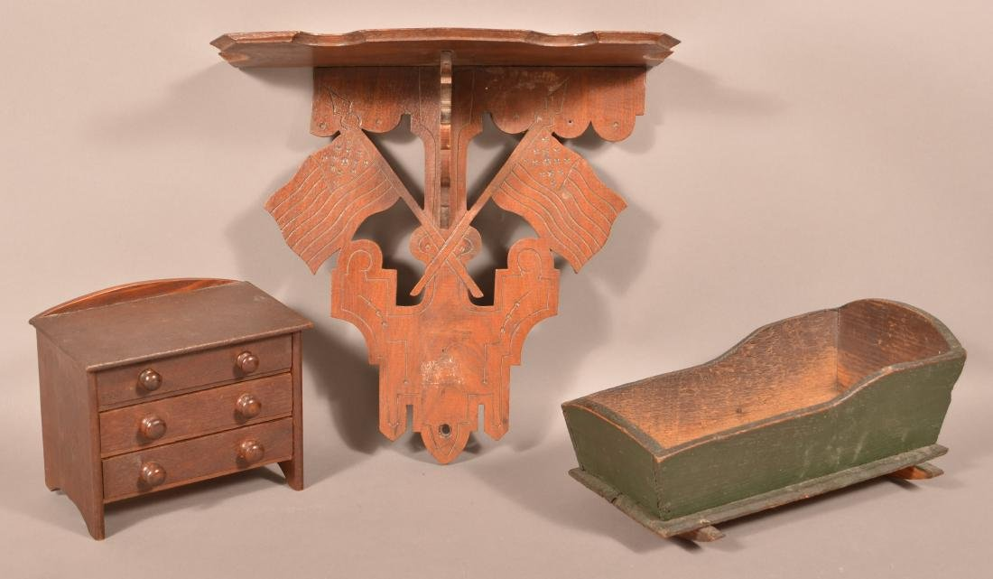 Three Antique Woodenware Pieces.