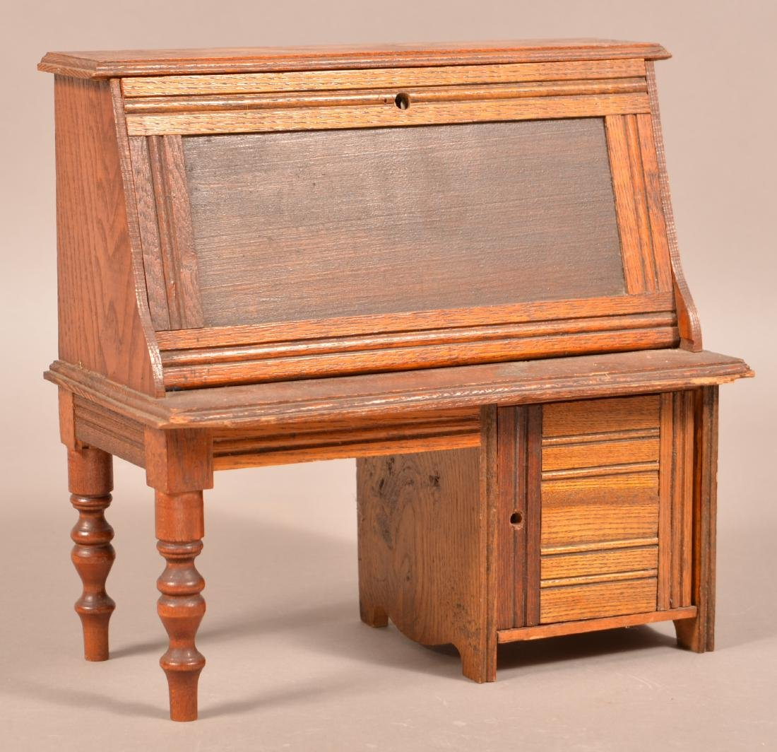 Antique Oak Miniature Fall-Front Desk.