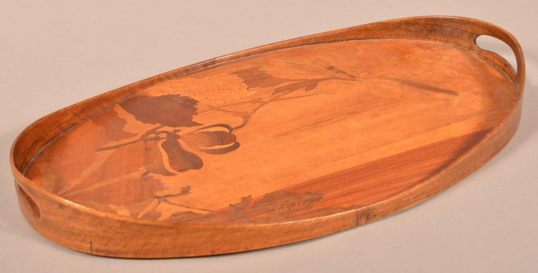 Emile Galle Art Nouveau Marquetry Wood Tray.