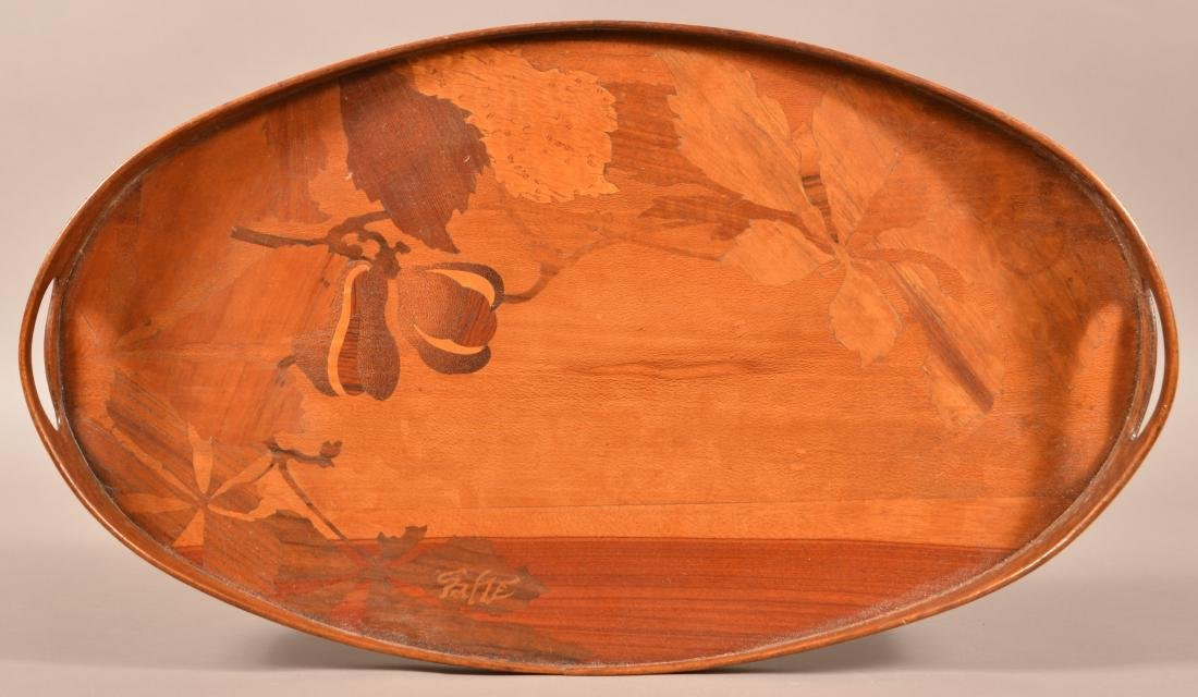Emile Galle Art Nouveau Marquetry Wood Tray. - 2