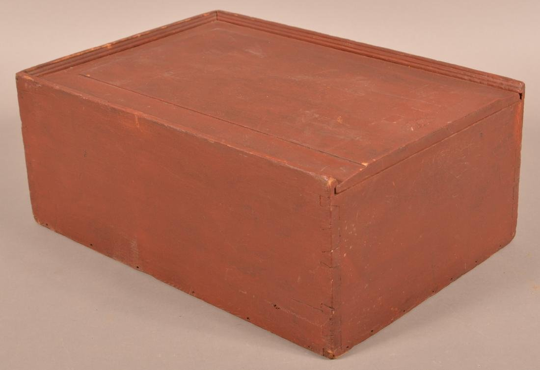 19th Cent. Red Painted Softwood Slide-Lid Box.