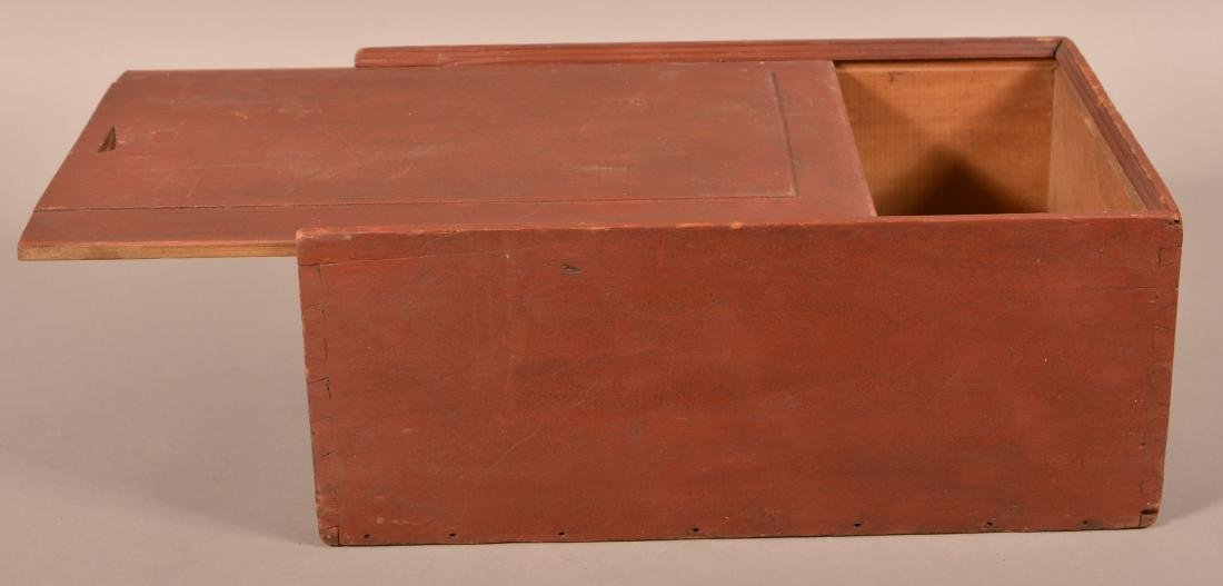 19th Cent. Red Painted Softwood Slide-Lid Box. - 2