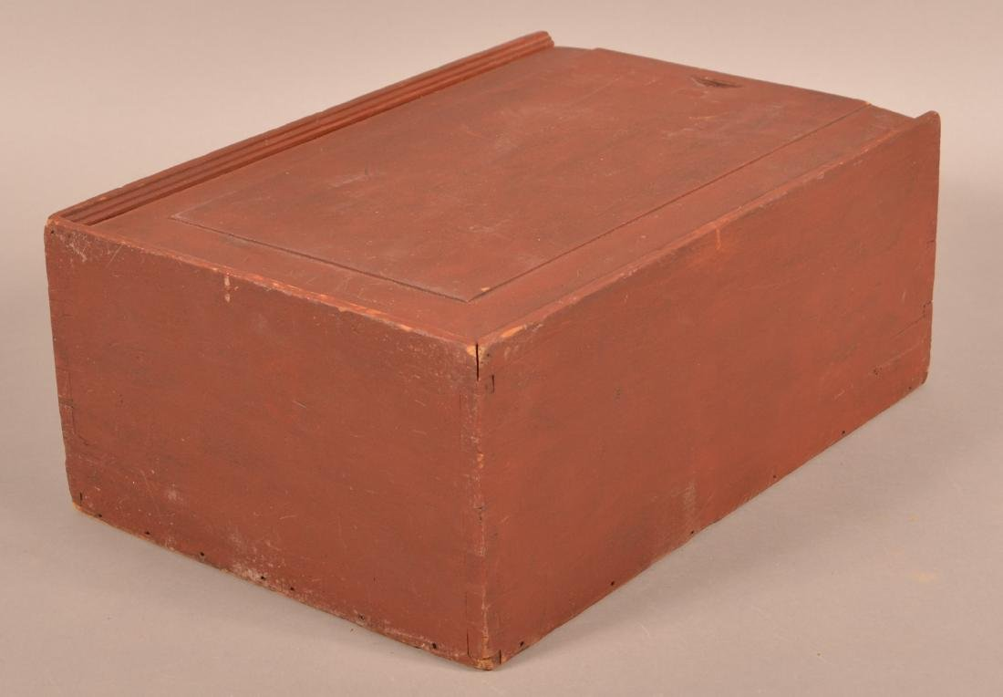 19th Cent. Red Painted Softwood Slide-Lid Box. - 3