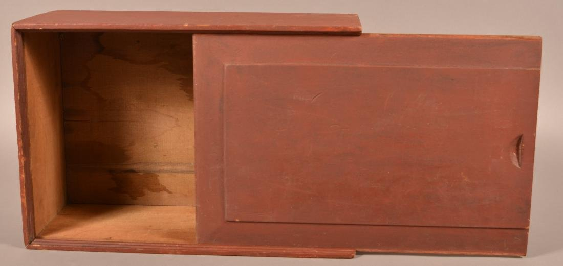 19th Cent. Red Painted Softwood Slide-Lid Box. - 5