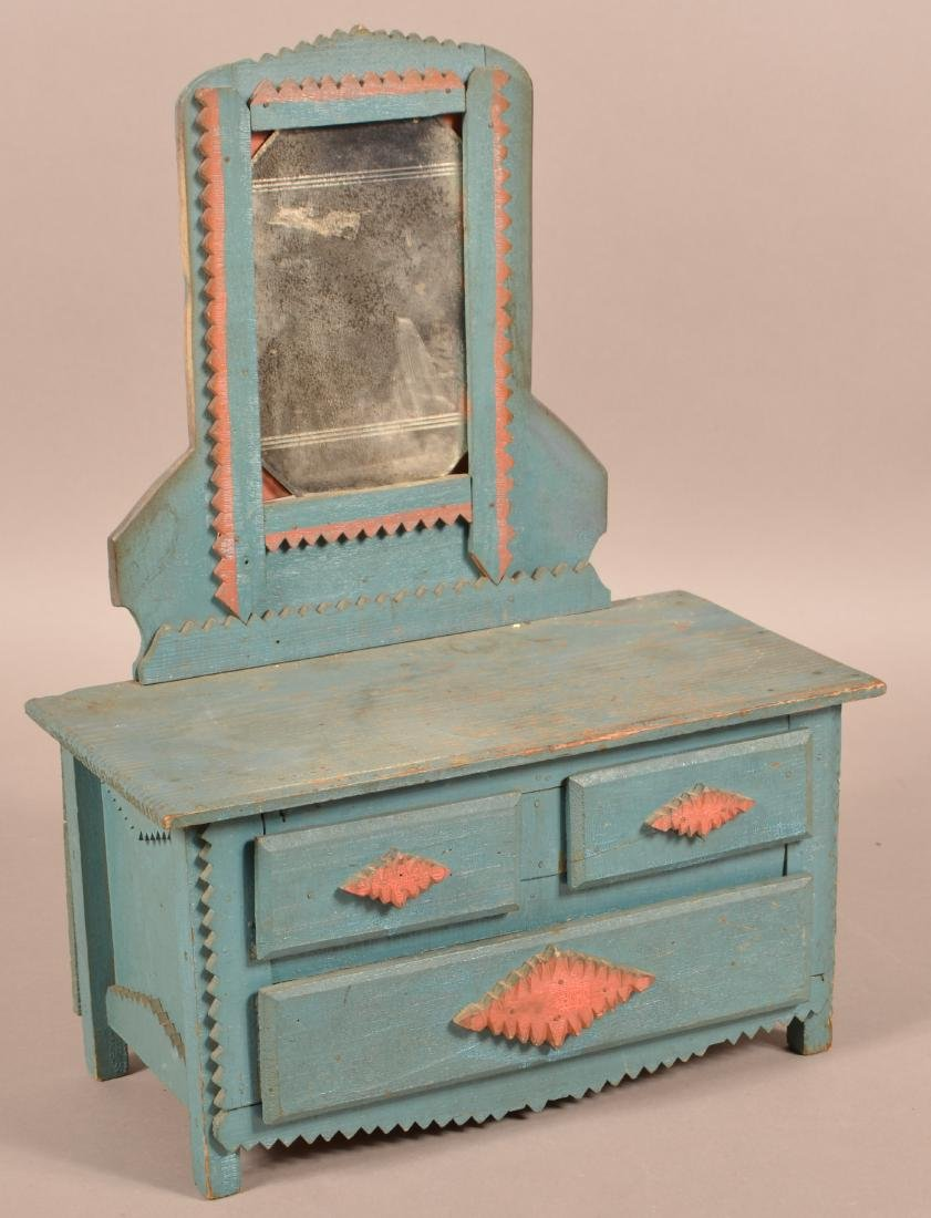 Antique Painted Tramp Art Miniature Bureau.