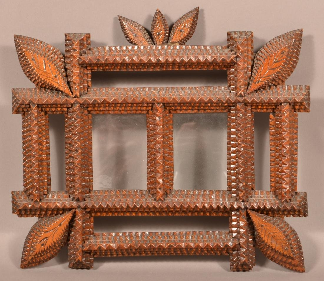 Antique Tramp Art double Picture Frame.