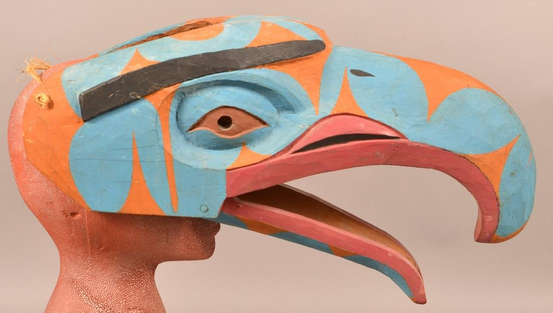 Canadian Carved and Painted Hawk Mask. - 3