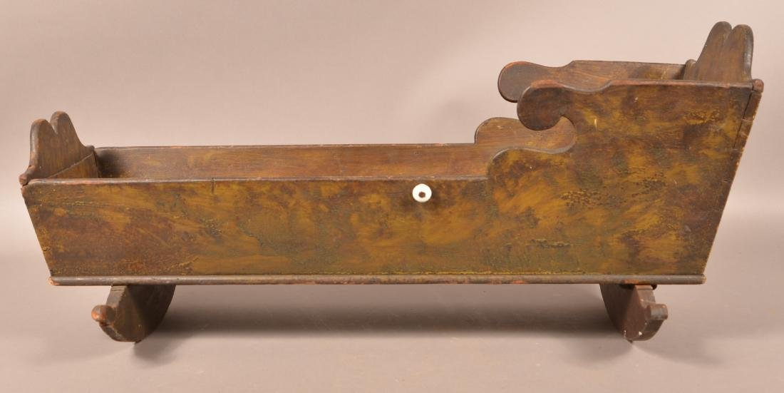Painted Softwood Infant/Doll Cradle. - 2