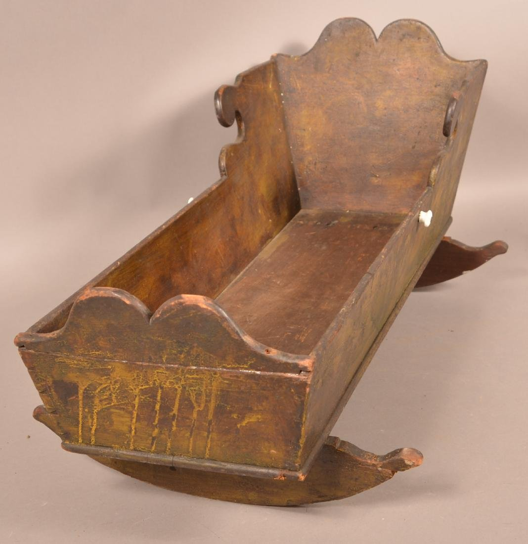 Painted Softwood Infant/Doll Cradle. - 3