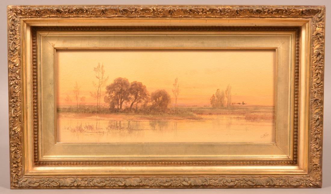 Carl Weber Watercolor Landscape Painting.