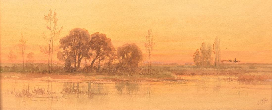 Carl Weber Watercolor Landscape Painting. - 2