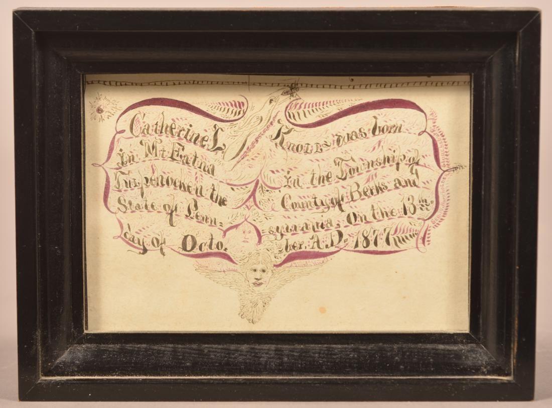 1879 Berks County Hand Drawn Birth Record.