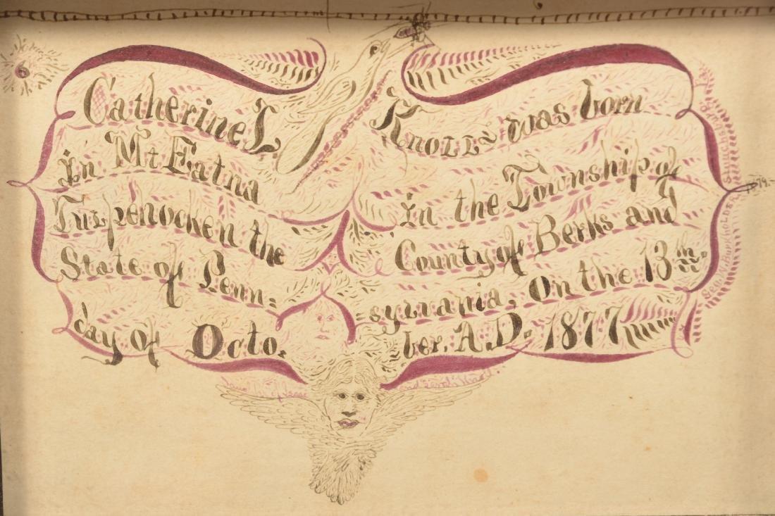 1879 Berks County Hand Drawn Birth Record. - 2