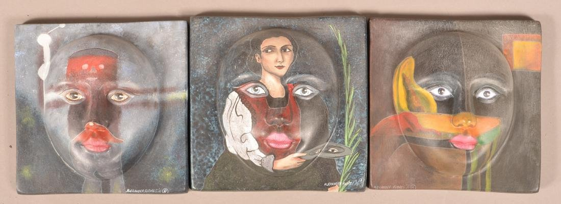 Three Alexander Flores Mexican Ceramic Wall Tiles.