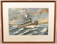 1977 Watercolor on Paper Tug Boat Painting.