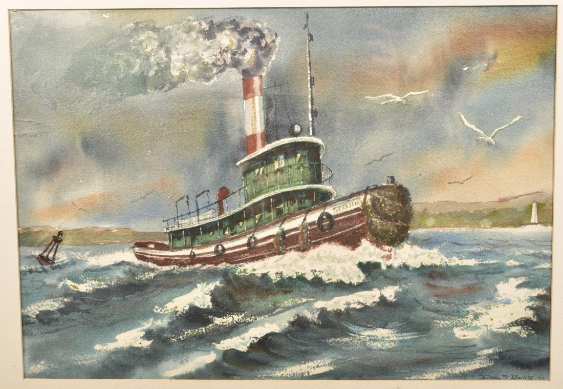 1977 Watercolor on Paper Tug Boat Painting. - 2