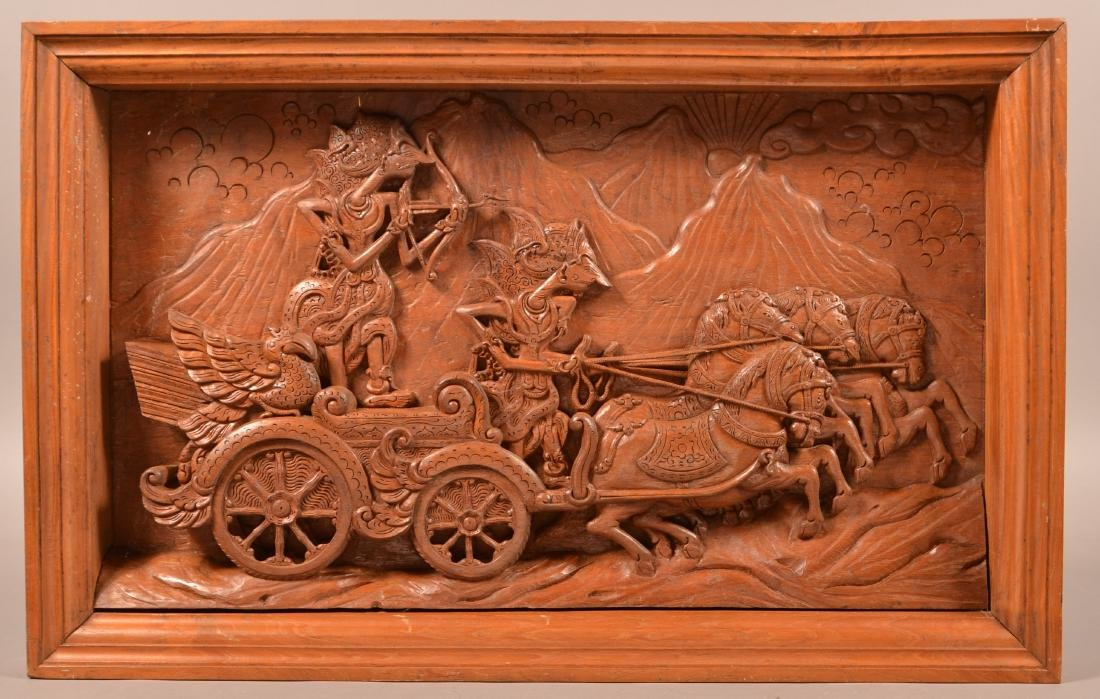 Framed Indonesian Three Dimensional Carving.