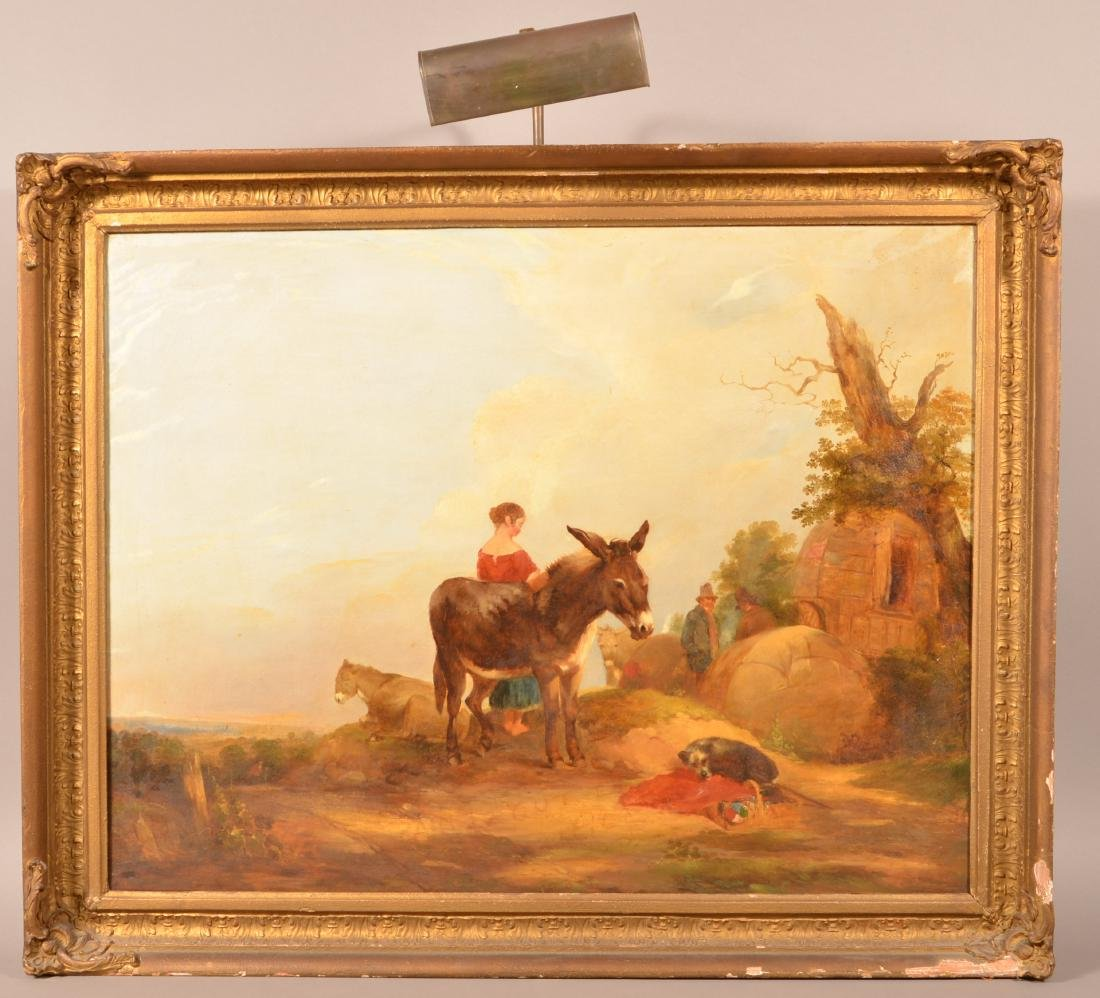 European Oil on Canvas Landscape Painting.
