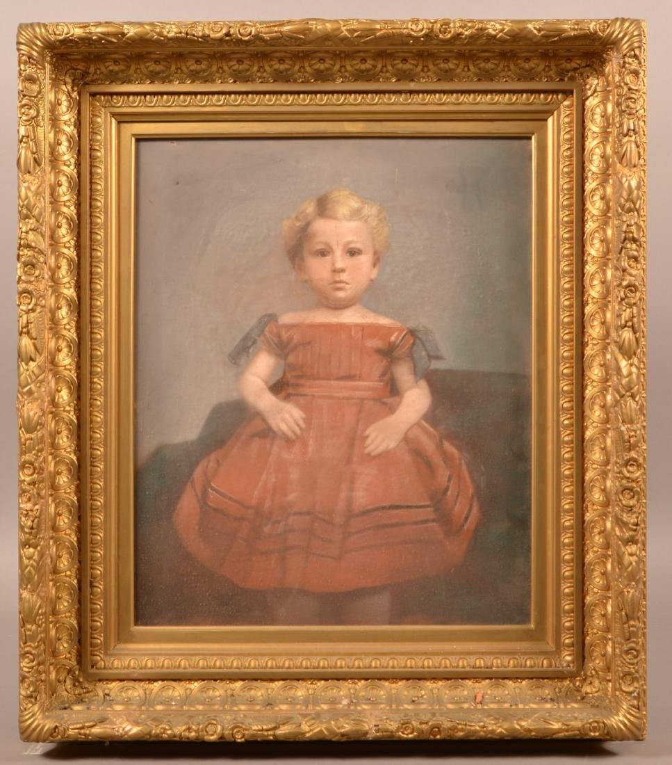 19th Century Pastel Portrait Painting of a Child.