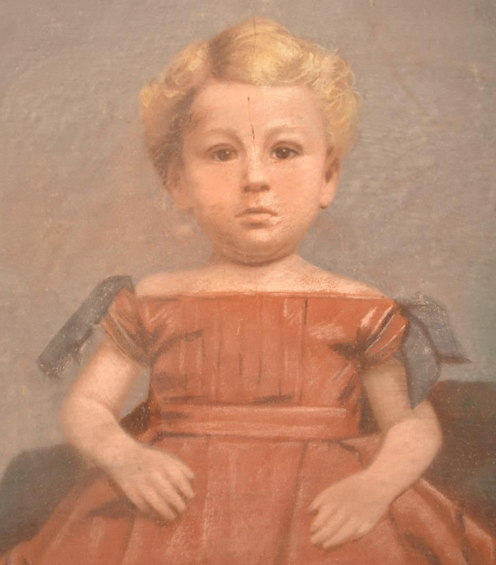 19th Century Pastel Portrait Painting of a Child. - 2
