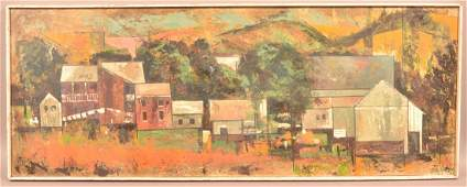 Fitzgerald Oil on Artist Board Abstract Cityscape.